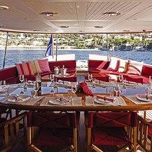 Arriva Yacht Aft Deck Dining
