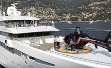 Helipad on foredeck of superyaht Lauren L