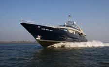Luxury yacht One Blue profile shot while underway