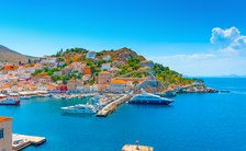 Hydra port in Greece with charter yachts moored