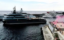 M/Y RAGNAR receives prestigious fire brigade salute at Monaco Yacht Club