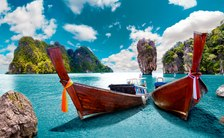 Boats at shore in yacht charter destination Thailand