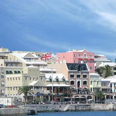 Colourful and busy Bermudian waterfront
