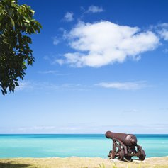 Old cannon on the coastline