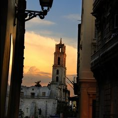 View from a narrow alley on the Old Havana Plaza