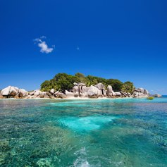 Coco island surrounded by turquoise sea