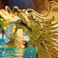Golden dragon fish fountains