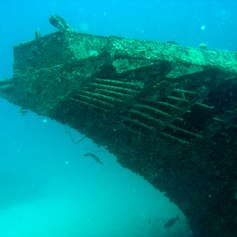 Very old shipwreck on the bottom of the sea