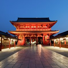 The Hozomon gate of the Asakusa temple at night in Tokyo
