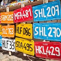 Colourful Cuban vehicle registration plates for sale