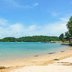 Empty tropical beach in Singapore