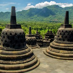 Stone bells on Borobudur Temple place