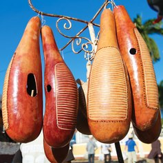 Musical instruments carved from fruit in Cuba