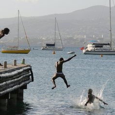 Kids jumping in the water