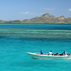 Small boat on South Pacific