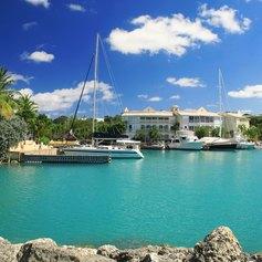 Luxury yachts moored in the Port of Bridgetown, Barbados