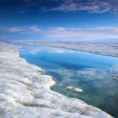 Shore of the Arctic Ocean covered with snow and ice