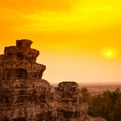 Remains of ancient temple at sunset