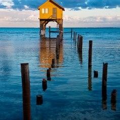 Wooden home in the ocean