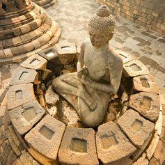 Religion sculpture in front of Borobudur Temple