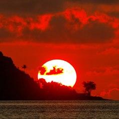 Sunset over Papua New Guinea