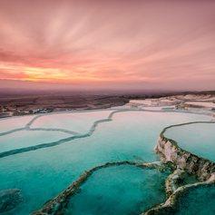 Sacred Pool Terraces in Pamukkale, Turkey