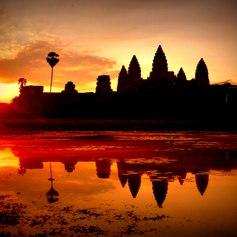 Cambodian temple at sunrise