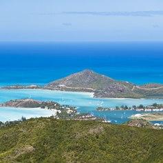 Green mountainous Caribbean coastline