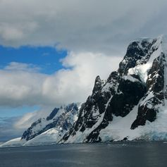 Mountains covered with ice in Antarctica