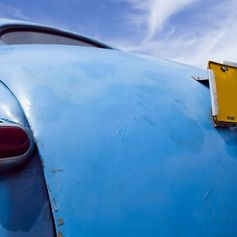 A classic car parked in Cuba