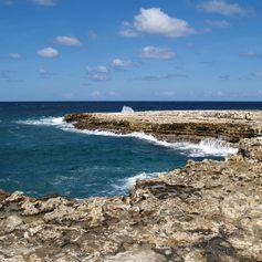 Waves crashing on a rocky coastline