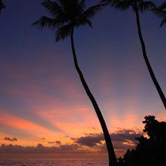 A pink sunset in the Dominican Republic