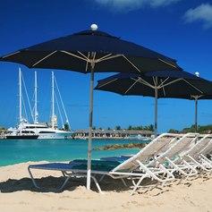 Sun-loungers overlooking the port of Bridgetown