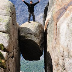 Brave standing on the precipice