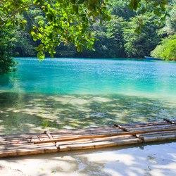 A primitive raft on the coast
