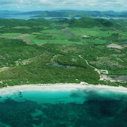 View from he sky on beautiful all green island