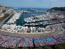Charter Yachts Arrive in Port Hercule for the Monaco Grand Prix