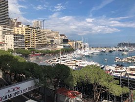 Charter yachts gather for the Monaco Historic Grand Prix 2018