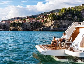 Save 20% on a Mediterranean yacht charter aboard new 108ft Ferretti motor yacht