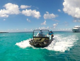 Go-anywhere with an amphibious ATV when you charter superyacht MIRAGGIO