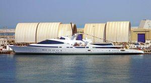 Superyacht YAS at her shipyard in Abu Dhabi