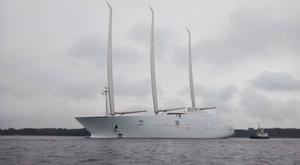 143m Sailing Yacht A (ex White Pearl) Emerges from Dock for First Time