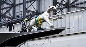 superyacht KISMET's Jaguar model on her bow