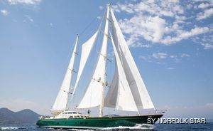 37m/ 121' sailing yacht NORFOLK STAR refitted and fresh for charter in the Mediterranean