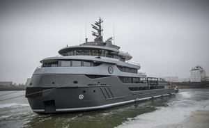 Fully-converted 68m explorer yacht RAGNAR hits the water at Icon Yachts