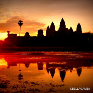 Cambodian temple at sunrise