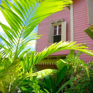 Pink house with opened shutters