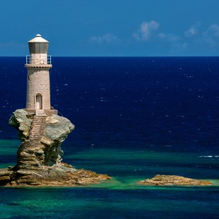 Lighthouse Tourlitis of Chora in Andros island