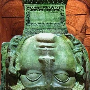 Medusa's Head Statue in Istanbul's Basilica Cistern