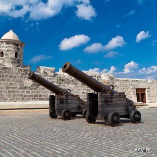 Old cannons in the square in front of the castle